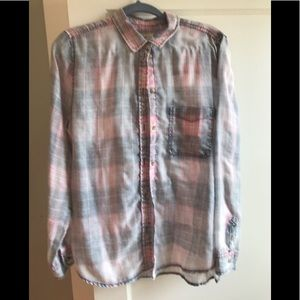 Tops - American eagle lightweight plaid grey pink